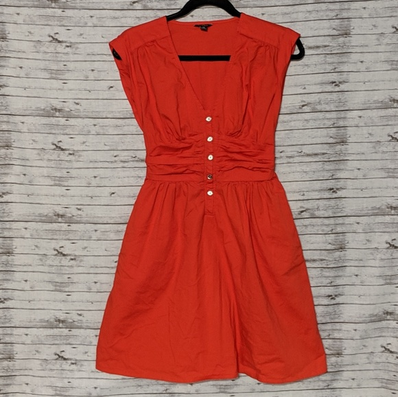 GAP Dresses & Skirts - Guess Bright Orange Fit & Flare Dress SZ:XS Red